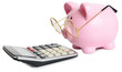 Piggybank and calculator - 79298456