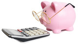 Piggybank and calculator mouse pad