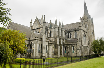 View of Saint Patrick cathedral in Dublin, Ireland, cloudy day