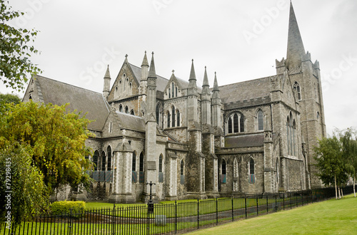 Leinwanddruck Bild View of Saint Patrick cathedral in Dublin, Ireland, cloudy day