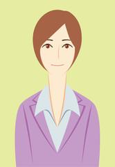 ビジネスパーソン:「微笑む」女性会社員(基本ポーズ)+背景