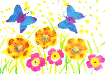 This artwork butterfly batik. Child drawing watercolor flowers,