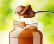 A jar of hazelnut chocolate spread on nature background - 79299207