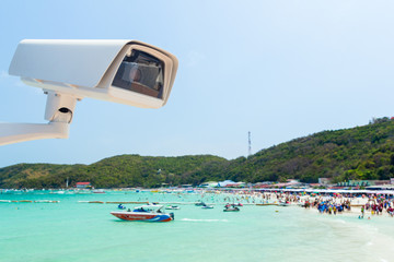 cctv camera with beach background