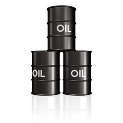 drei schwarze Ölfässer