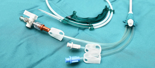 Close up view ona central venous catheter and a guide wire