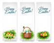 Three Happy Easter banners with easter eggs in a basket and grre
