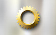 realistic golden gear on a steel metal background - 79301249