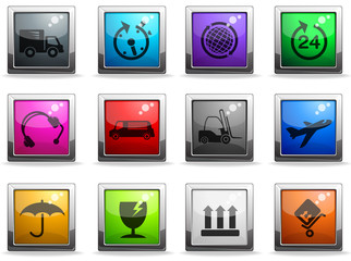 cargo shipping glass icons