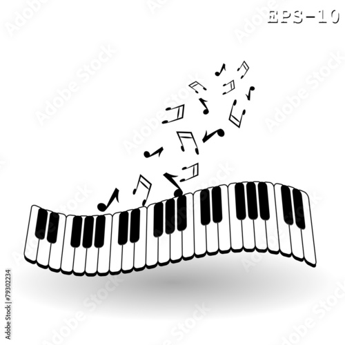 Vintage background with piano - vector illustration - 79302234