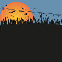 Dark background - night, a sunset and bats.