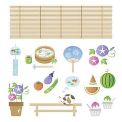 Set of japanese summer elements