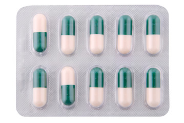 Capsules with a medicine (Clipping path)