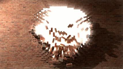 Brick wall break through demolish smash escape to white light 2
