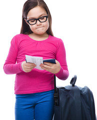 girl with travel bag, ticket and passport