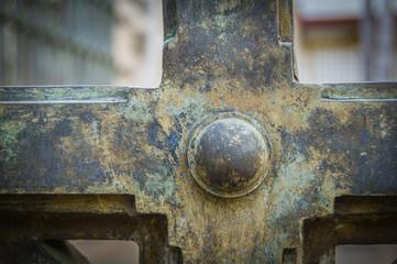 Rusty green iron gates