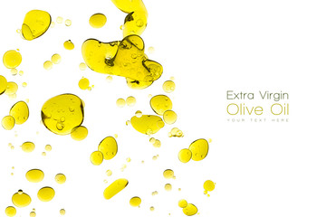 Olive Oil Drops Isolated on White