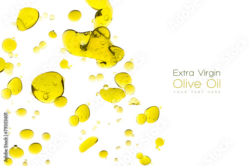 Olive Oil Drops Isolated on White - 79303601