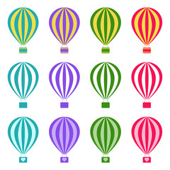 Set of hot air balloons on white background, vector illustration