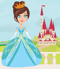 Illustration of cute little princess and a beautiful castle