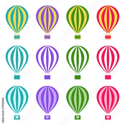 Fototapeta Set of hot air balloons on white background, vector illustration