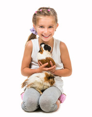 happy cute girl with a cavy