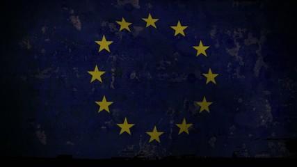 EU Flag Waving, old, grunge look background sunset