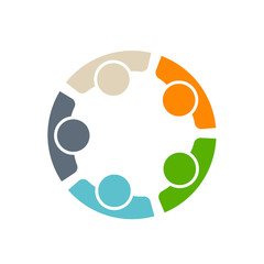 Team of five people logo in circle