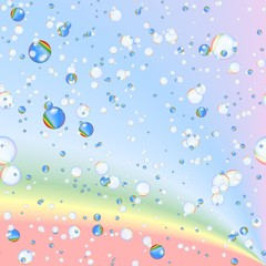 rainbow bubbles on rainbow background