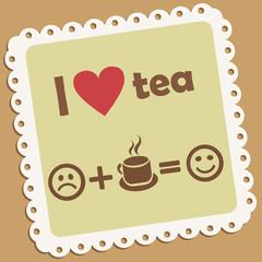 I love tea. Retro vector icon.