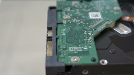 Hard disk drive dolly slider fly. closeup