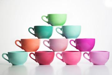 multicolor pyramid cups