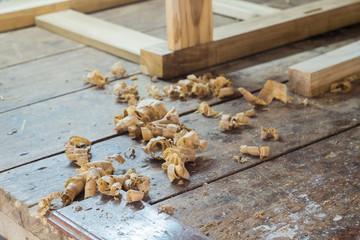 wood shavings on table of the carpenter