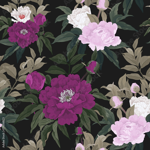 Seamless floral pattern with red, pink and white roses on dark b - 79306823