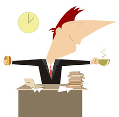 Businessman or a manager has a cup of coffee and sandwich