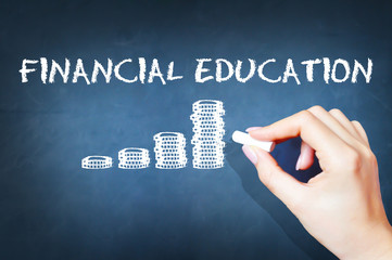 Financial education text on blackboard