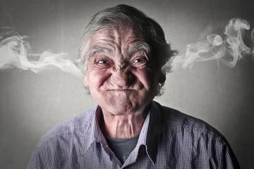 Angry elderly man