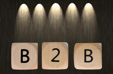 Holzwürfel mit B2B beleuchtet