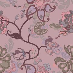 Decorative floral boho seamless pattern
