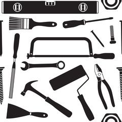 Hand tools vector seamless pattern background 4