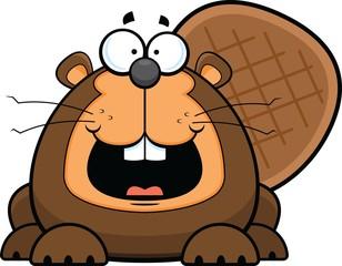 Cartoon Beaver Happy