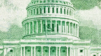US Fifty Dollar Bill Capitol Building Zoom