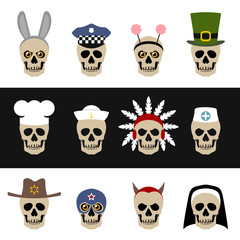 Skulls with hats and caps