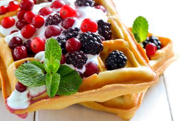 Belgian waffles with yogurt and berries