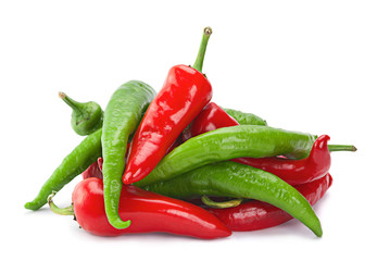Red green chilli pepper on white