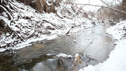 Ice water running in a fast spring stream