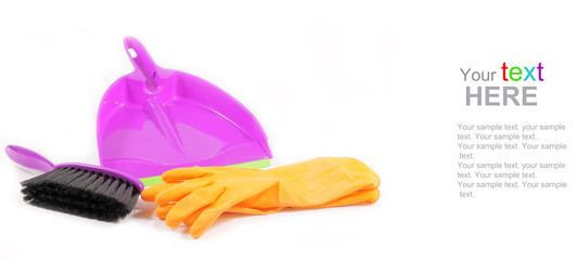 Plastic dustpan gloves and brush