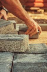 Block paving being layed