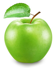 Green apple on a white background. File contains clipping paths.