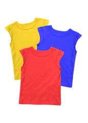 Colorful t-shirts isolated on white